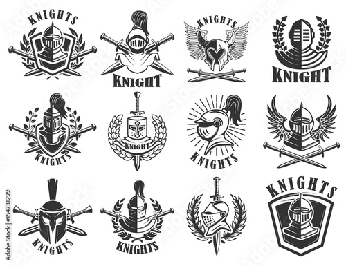 Set of knight emblems Fotobehang