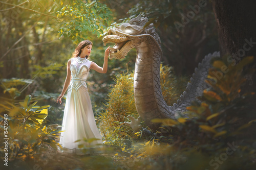 Fotografie, Tablou  Fairy tale of a girl with a dragon in the forest