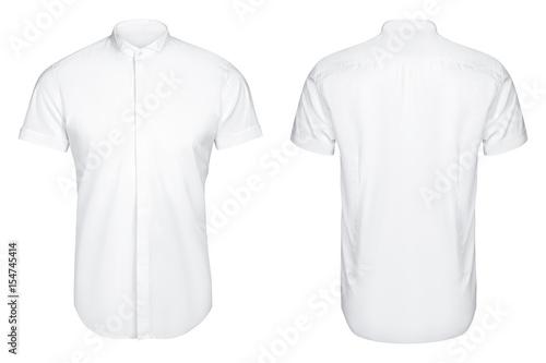 Valokuva  white classic and business shirt, short sleeved shirt, white background