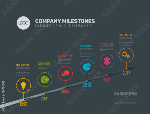 Staande foto Hoogte schaal Infographic Timeline Template with pointers