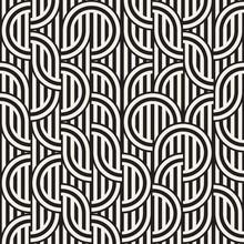 Seamless Monochrome Waving Pattern. Abstract Stripy Background. Vector Irregular Round Stripes Design.