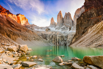 Laguna torres with the towers at sunset, Torres del Paine National Park, Patagonia, Chile