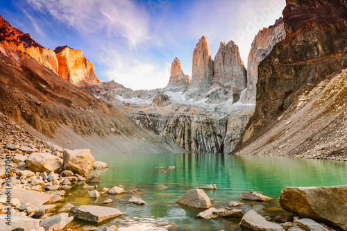 Fotografie, Tablou Laguna torres with the towers at sunset, Torres del Paine National Park, Patagon