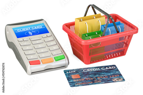 Poster Shopping concept. POS-terminal with credit card and shopping basket with shopping bags, 3D rendering