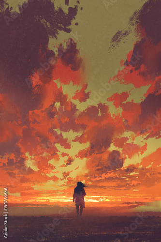 Foto op Aluminium Grandfailure lonely man looking at fiery sunset sky with digital art style, illustration painting