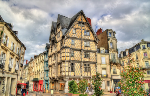 Buildings in the old town of Angers, France Canvas Print
