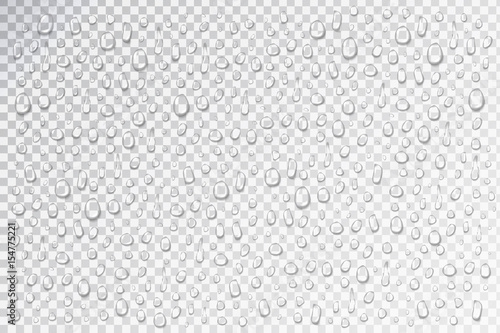 Stampa su Tela Vector set of realistic isolated water droplets on the transparent background