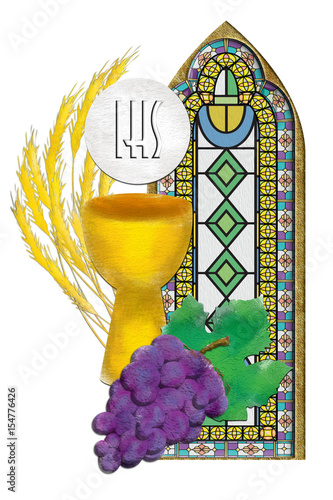 Eucharist Symbols With Chalice And Host Bread And Wine With Wheat