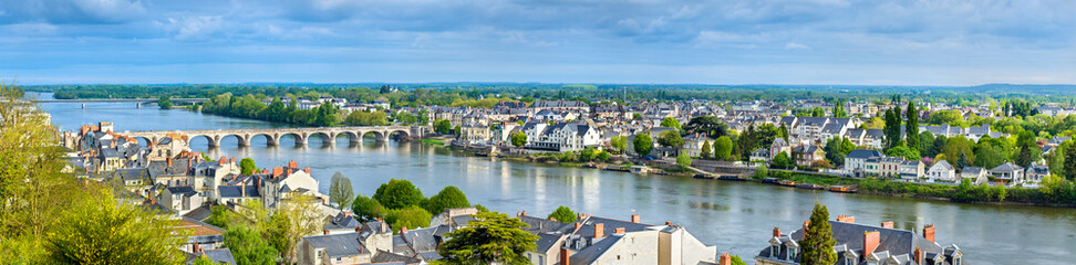 Panorama of Saumur on the Loire river in France
