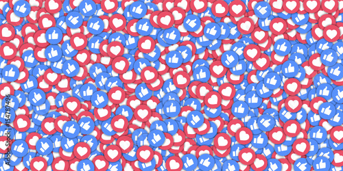 Photographie Social media icons in abstract shape background with scattered thumbs up and hearts