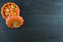 Candy Corn In Ceramic Pumpkin