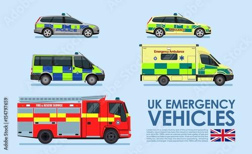 UK Emergency vehicles cars, police car, ambulance van, fire truck isolated on blue background