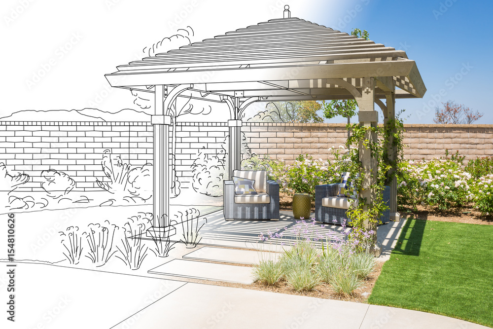 Poster foto beautiful pergola patio cover drawing transitioning to