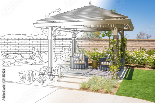 Fotografia  Beautiful Pergola Patio Cover Drawing Transitioning to Photo Reality