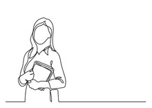 Teacher With Books - Continuous Line Drawing