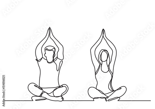 Obraz man woman doing yoga - continuous line drawing - fototapety do salonu