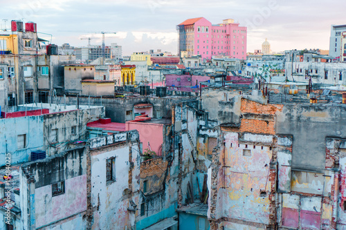 HAVANA, CUBA - APRIL 14, 2017: Authentic view of a abandoned house and street of Old Havana