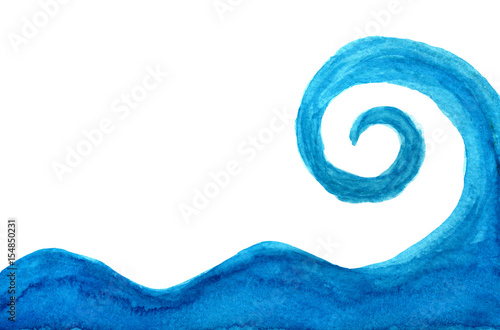Abstract wave Blue abstract sea wave in watercolor