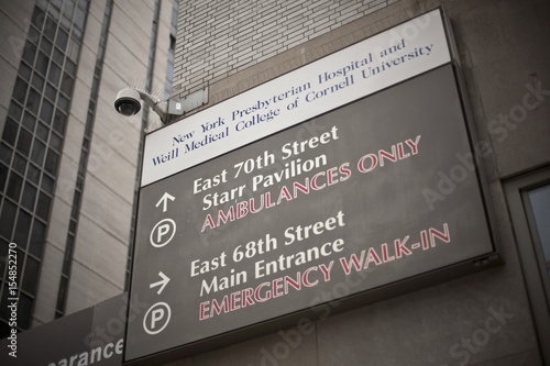 A signboard at New York Presbyterian Hospital is seen on the Upper