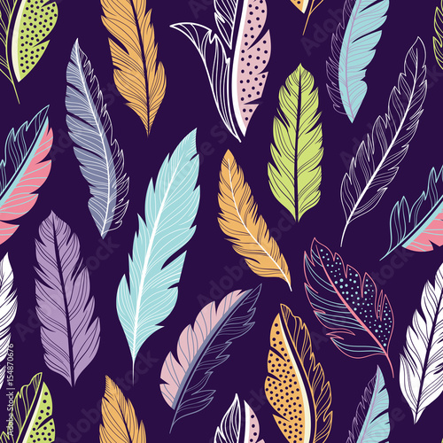 Aufkleber - Feathers seamless vector pattern