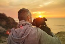 Man And His Faithful Dog Enjoy...