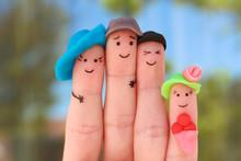 Fingers Art Of Family. Concept...