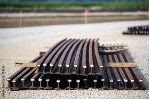 Pinturas sobre lienzo  stacked curved railroad track