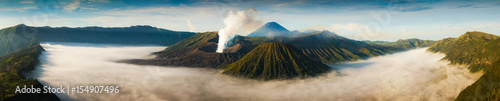 Foto Mount Bromo volcano (Gunung Bromo) during sunrise from viewpoint on Mount Penanjakan
