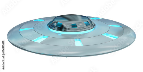 Foto op Canvas UFO Vintage UFO isolated on white background 3D rendering