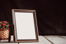 Picture Frames On Wooden.
