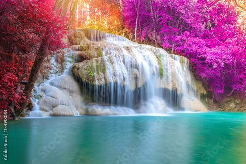 Fototapeten Wasserfalle Waterfall in Deep forest at Erawan waterfall National Park,