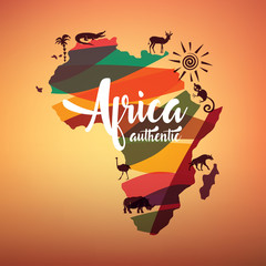 Fototapeta Africa travel map, decrative symbol of Africa continent with wild animals silhouettes