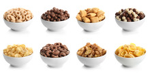 Bowls With Different Kinds Of Cereal Breakfast On White Background