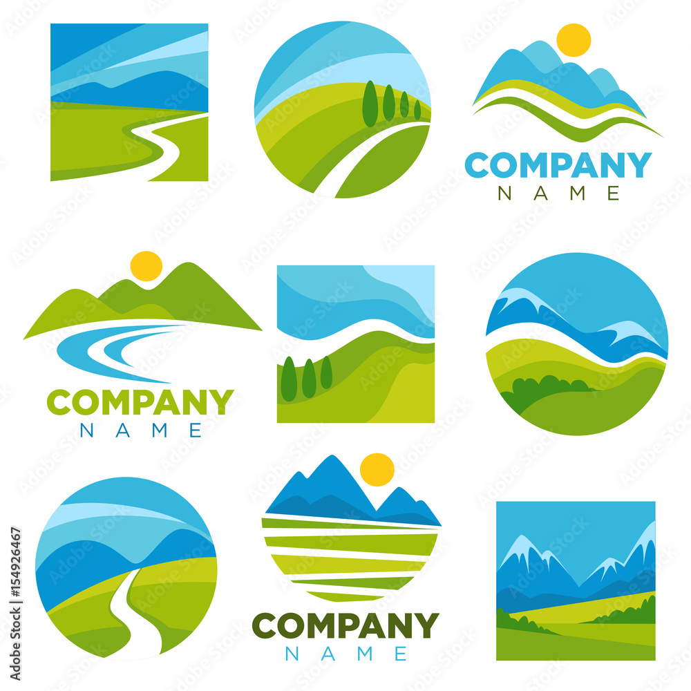 Fototapety, obrazy: Landscape logotypes set with space for company name