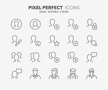 User Avatar Thin Line Icons
