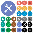Tool kit round flat multi colored icons
