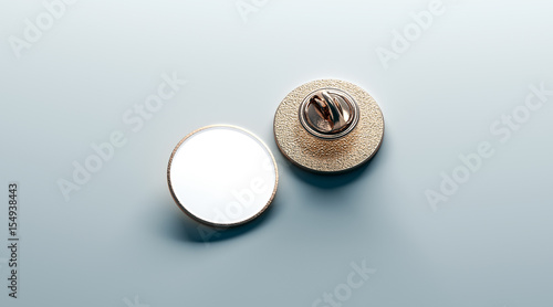 Blank white round gold lapel badge mock up, front and back side view
