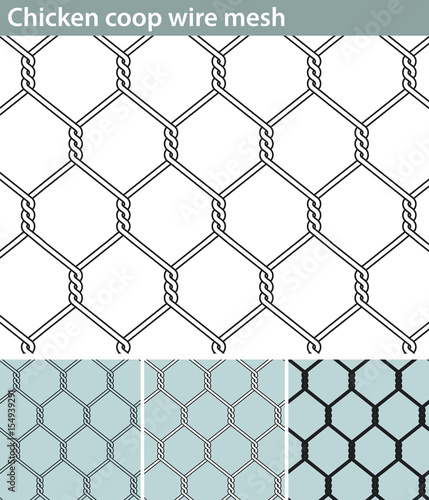 Chicken wire, new. Three different versions of a seamless pattern with a wire mesh for chicken coops: unfilled, with white filling and in silhouette.