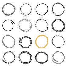 Set Of Hand Drawn Circle Frames In Ethnic Style