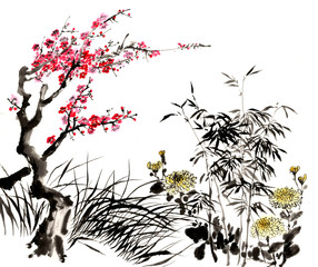 FototapetaChinese traditional distinguished gorgeous decorative hand-painted ink-bamboo,Orchid, Plum Blossom, Chrysanthemum
