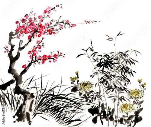 Chinese traditional distinguished gorgeous decorative hand-painted ink-bamboo,Orchid, Plum Blossom, Chrysanthemum - 154945022