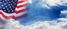 USA Flag On Cloud And Blue Sky Background For 4 July Independence Day Or Other Celebration
