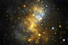 Bright Galaxy. Abstract Golden And Blue Sparkles On Black Background. Fantasy Fractal Texture. Digital Art. 3D Rendering.