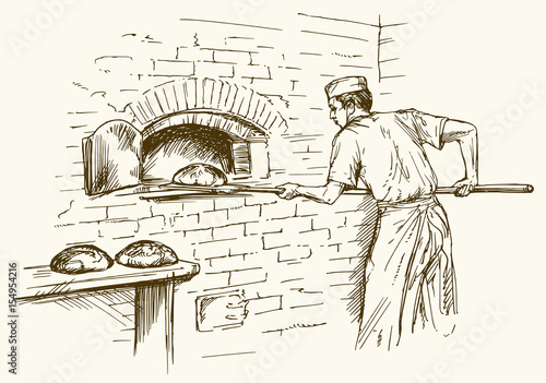 Fotografie, Obraz  Baker taking out with shovel bread from the oven, vector illustration
