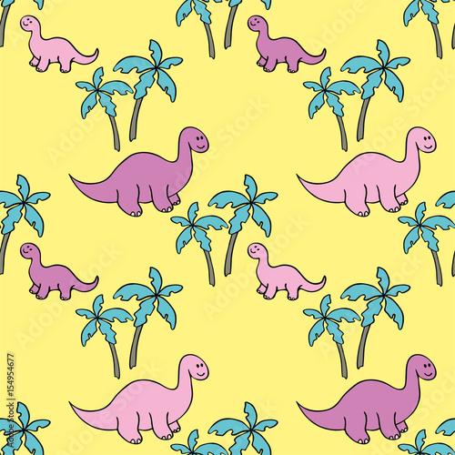 rozowe-dinozaury-i-drzewa-na-zoltym-tle
