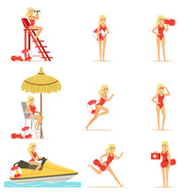 Lifeguard Woman Character Doing His Job. Water Rescue Vector Illustrations
