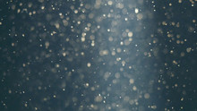Abstract Blue Background With Beautiful Golden Flickering Particles. Underwater Bubbles In Flow With Bokeh
