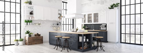modern nordic kitchen in loft apartment. 3D rendering Poster Mural XXL