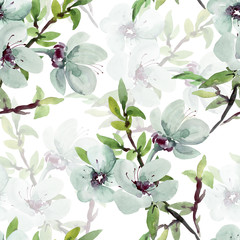 FototapetaSeamless watercolor illustration of a flowering branch