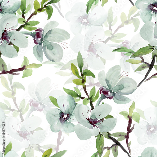 Photo Seamless watercolor illustration of a flowering branch